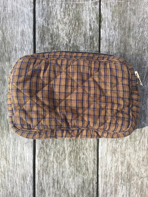 Makeup bag fra Ellies And Ivy Green Blue Check