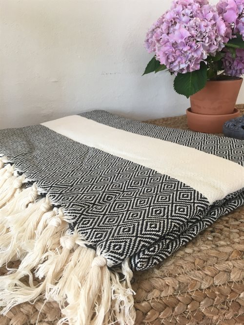 Hamam plaid, throw Offwhite/sort rudemønster